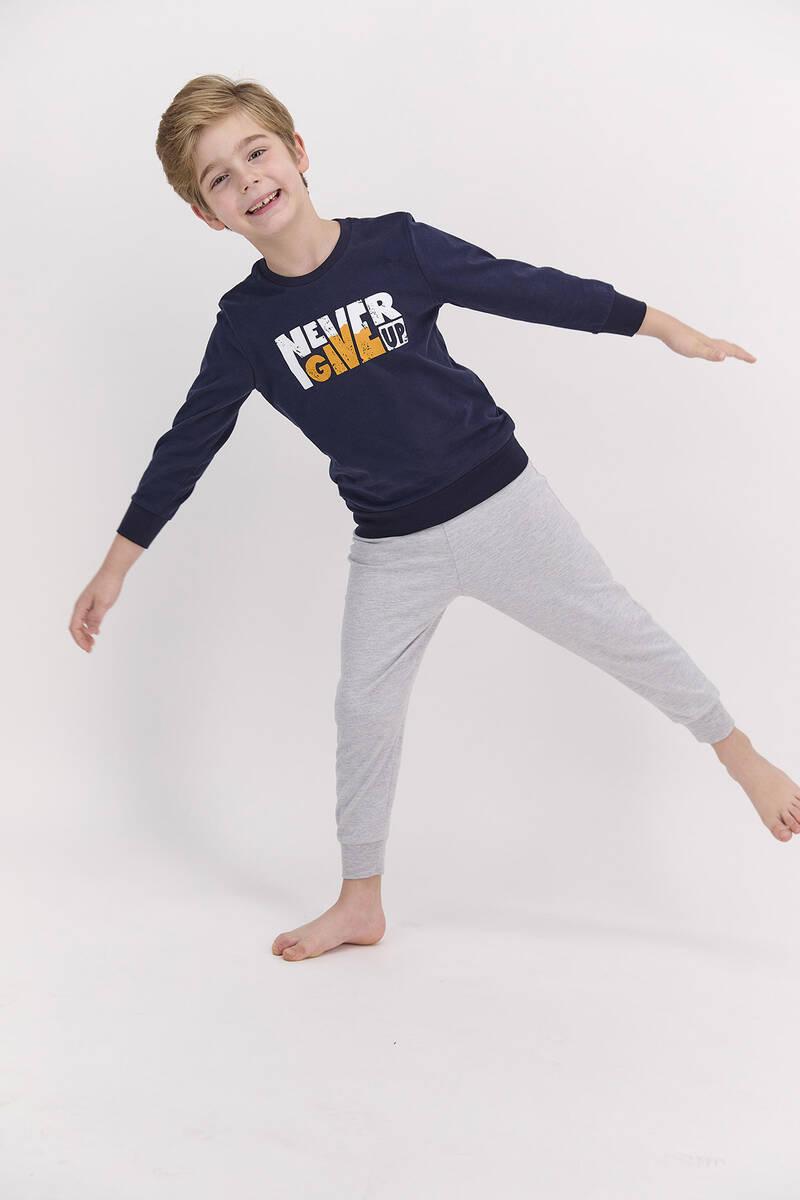 Arnetta - Arnetta Never Give Up Lacivert Erkek Çocuk Pijama Takımı