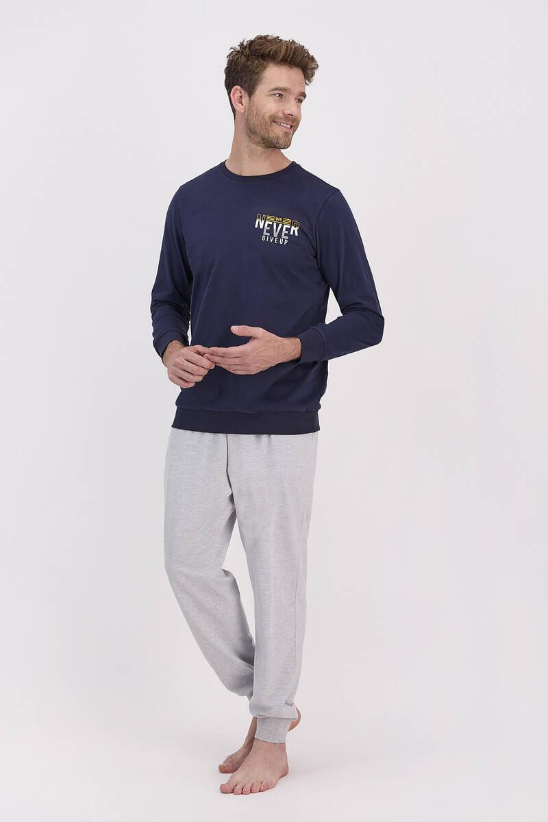 Arnetta - Arnetta Never Give Up Lacivert Erkek Pijama Takımı