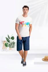 Arnetta Paradise Krem Erkek Bermuda Takım - Thumbnail