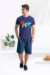 Arnetta - Arnetta Paradise Lacivert Erkek Bermuda Takım