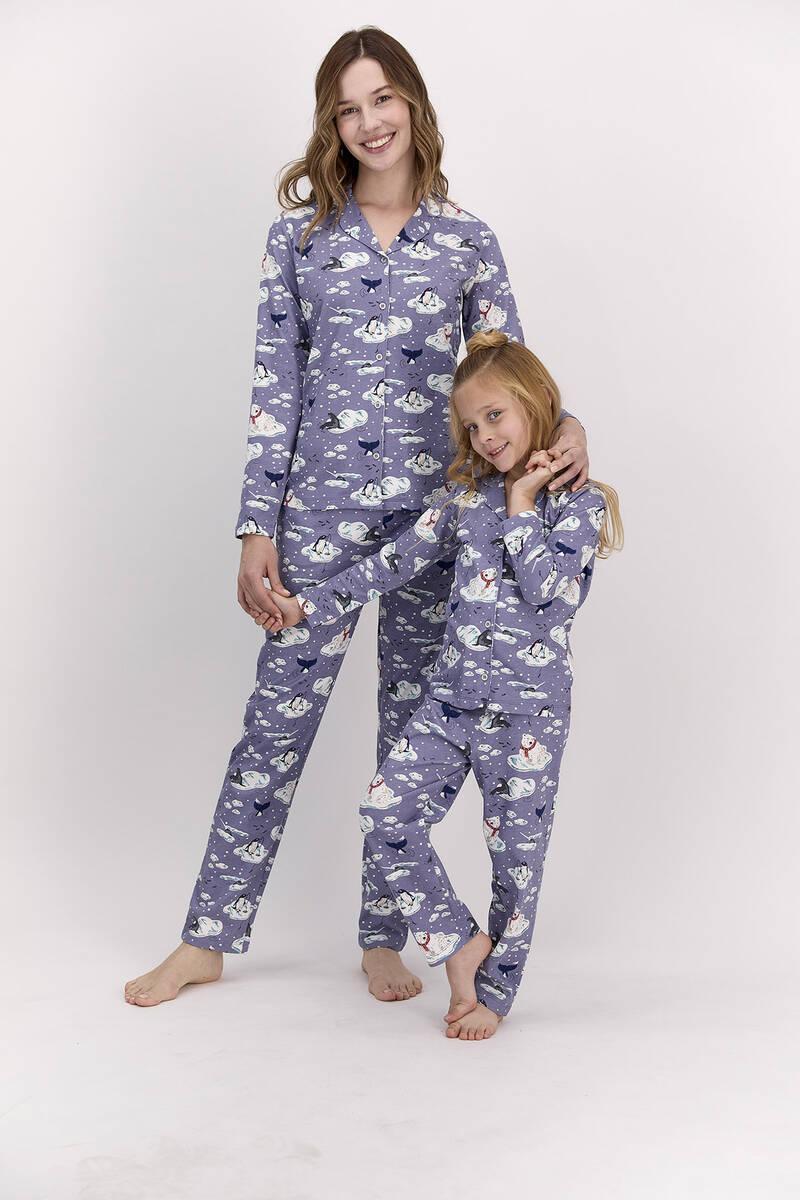 Arnetta - Arnetta Penguen Mor Kadın Gömlek Pijama Takımı (1)