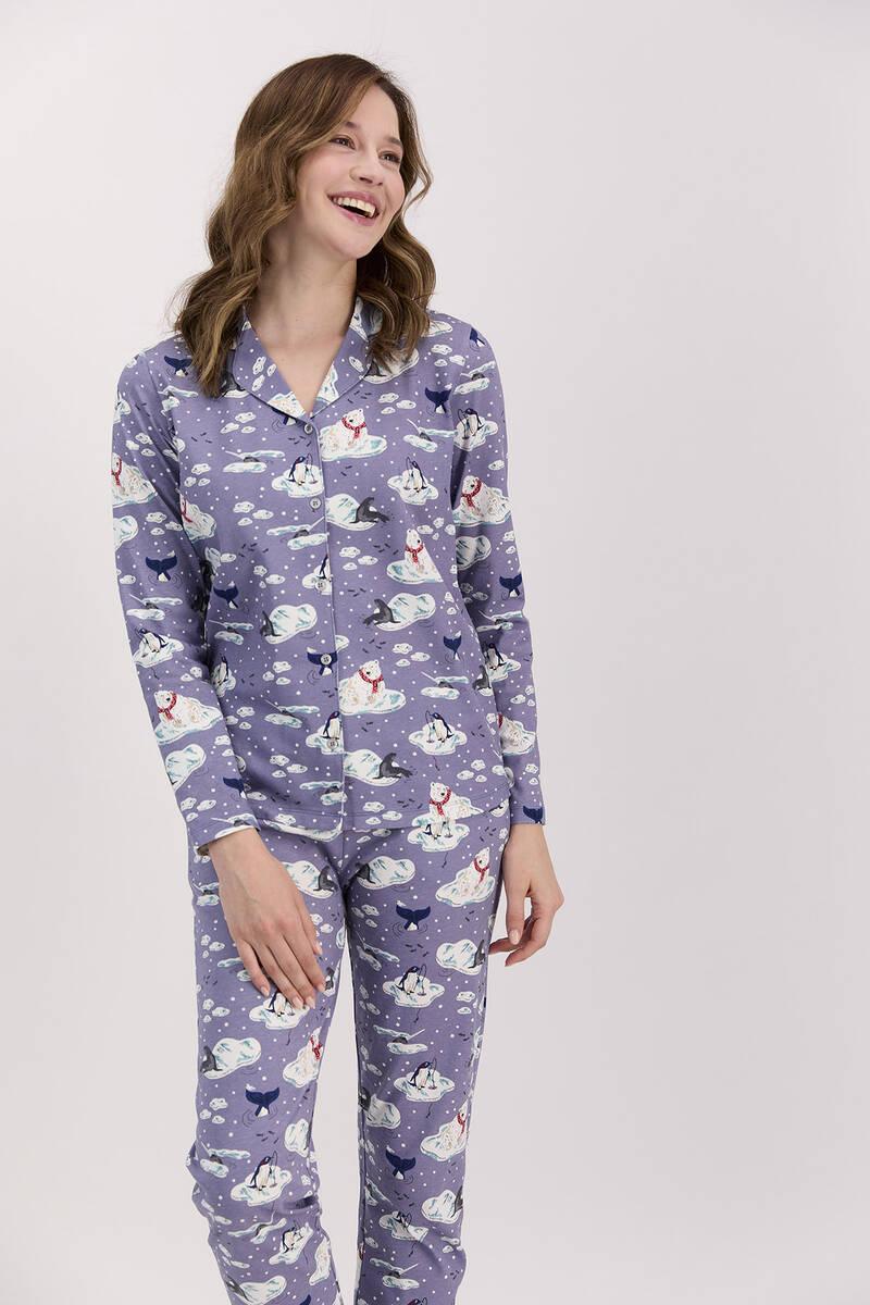 Arnetta - Arnetta Penguen Mor Kadın Gömlek Pijama Takımı