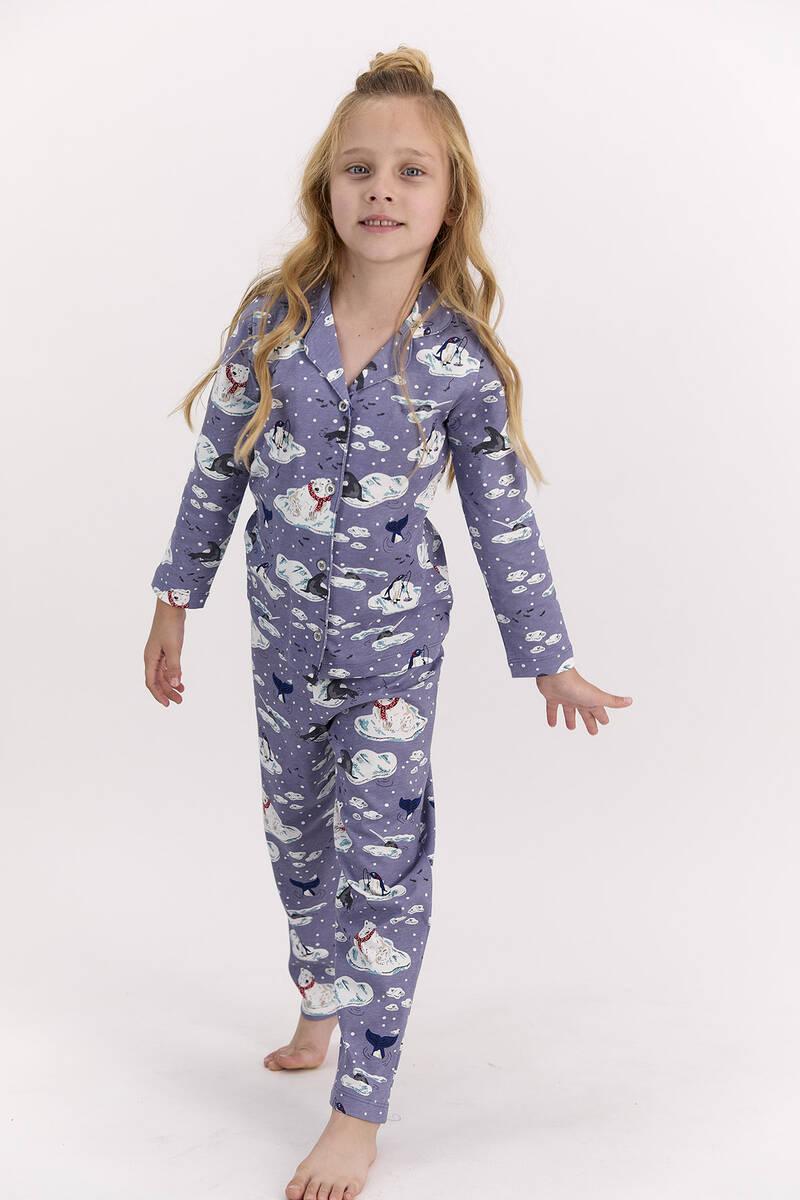 Arnetta - Arnetta Penguen Mor Kız Çocuk Gömlek Pijama Takımı