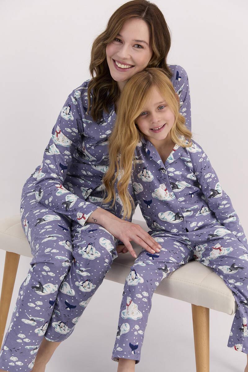 Arnetta - Arnetta Penguen Mor Kız Çocuk Gömlek Pijama Takımı (1)