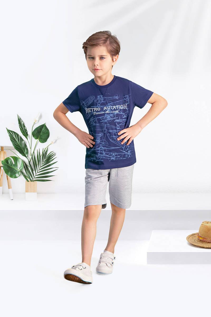 Arnetta - Arnetta Retro Lacivert Erkek Çocuk Bermuda Takım