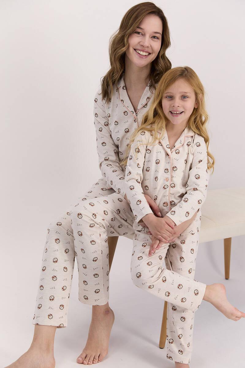 Arnetta - Arnetta Saatli Kremmelanj Kadın Gömlek Pijama Takımı (1)