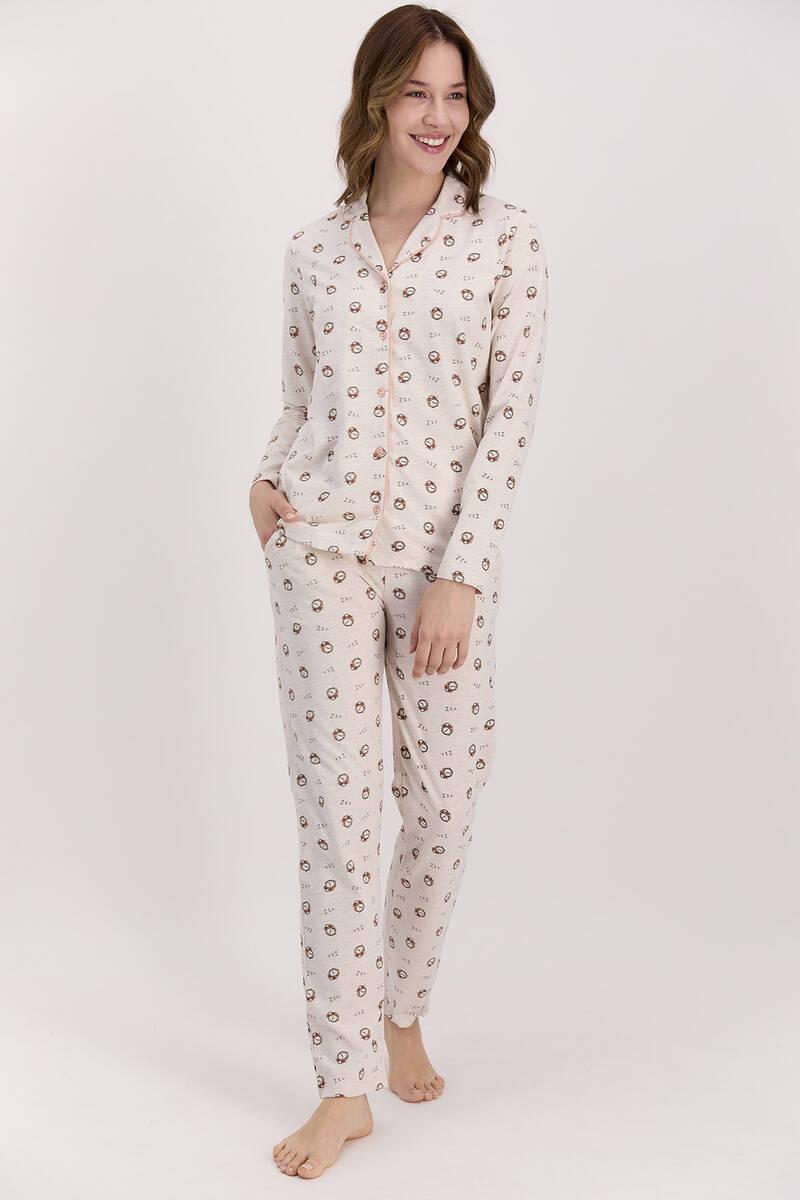 Arnetta - Arnetta Saatli Kremmelanj Kadın Gömlek Pijama Takımı