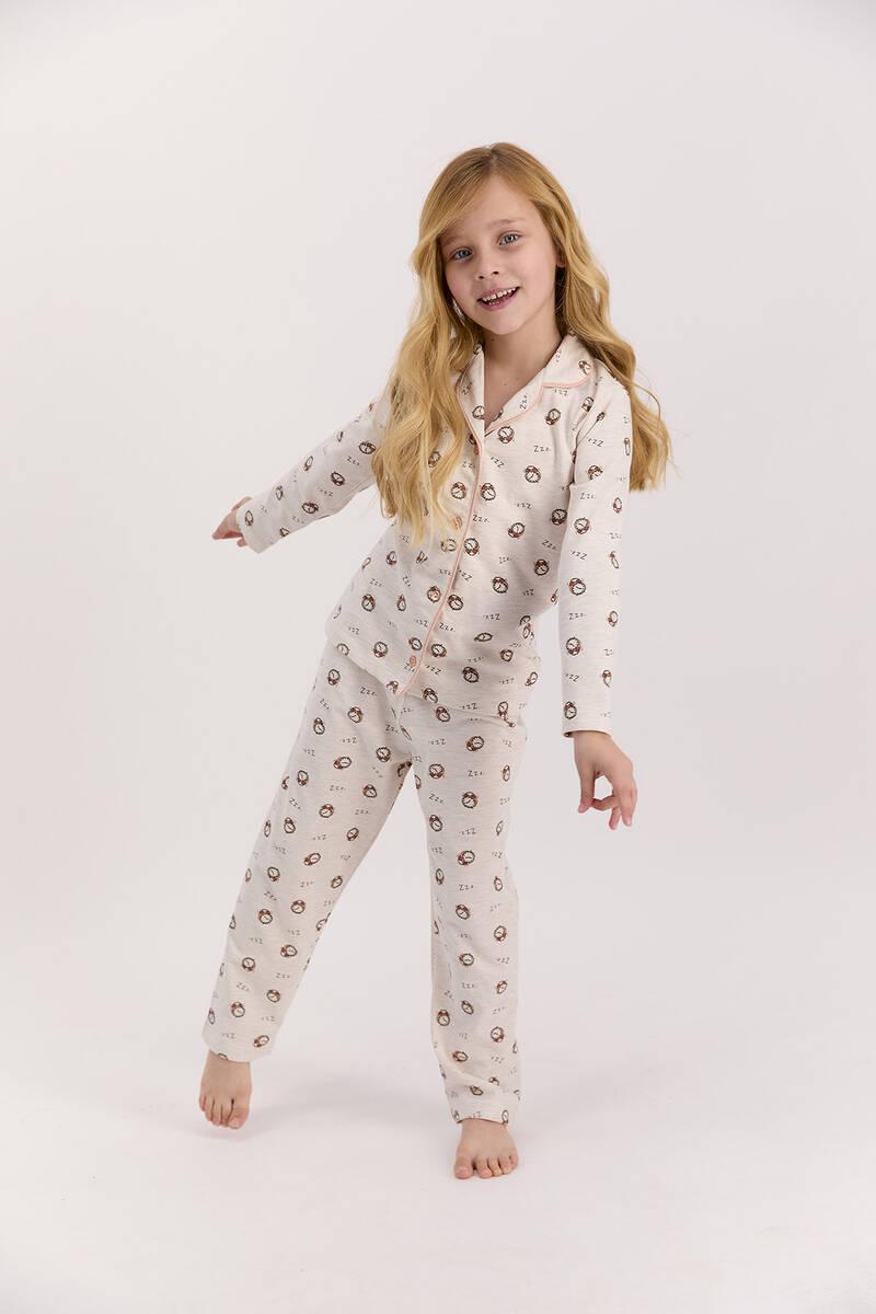 Arnetta - Arnetta Saatli Kremmelanj Kız Çocuk Gömlek Pijama Takımı