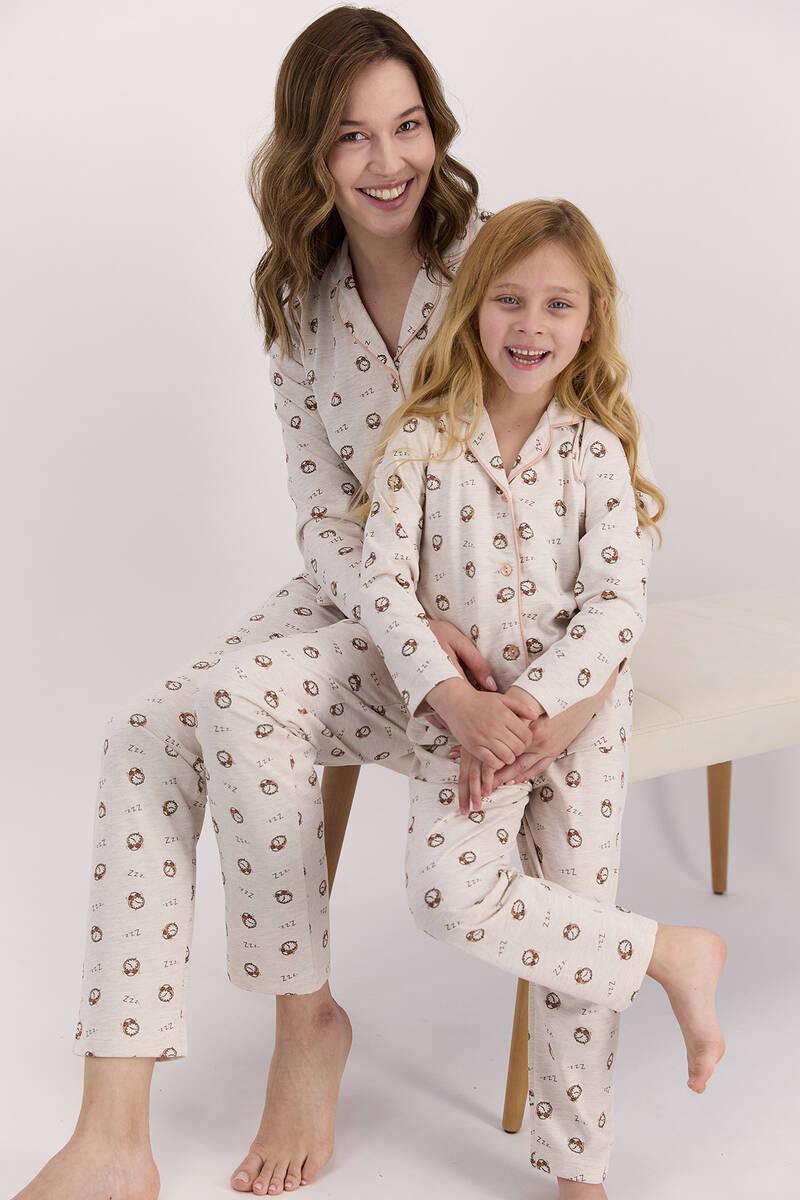 Arnetta - Arnetta Saatli Kremmelanj Kız Çocuk Gömlek Pijama Takımı (1)