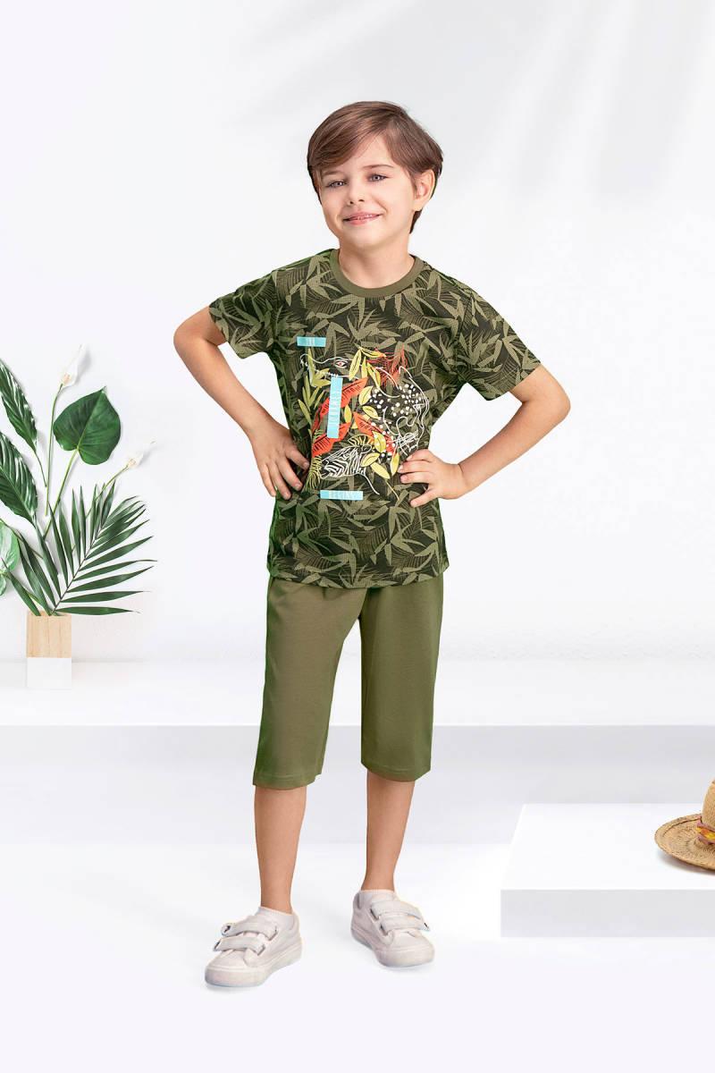 Arnetta - Arnetta Safari Haki Erkek Çocuk Bermuda Takım