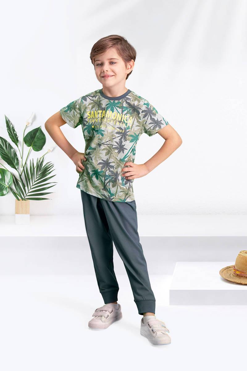 Arnetta - Arnetta Santa Monica Gri-Yeşil Erkek Çocuk Pijama Takımı