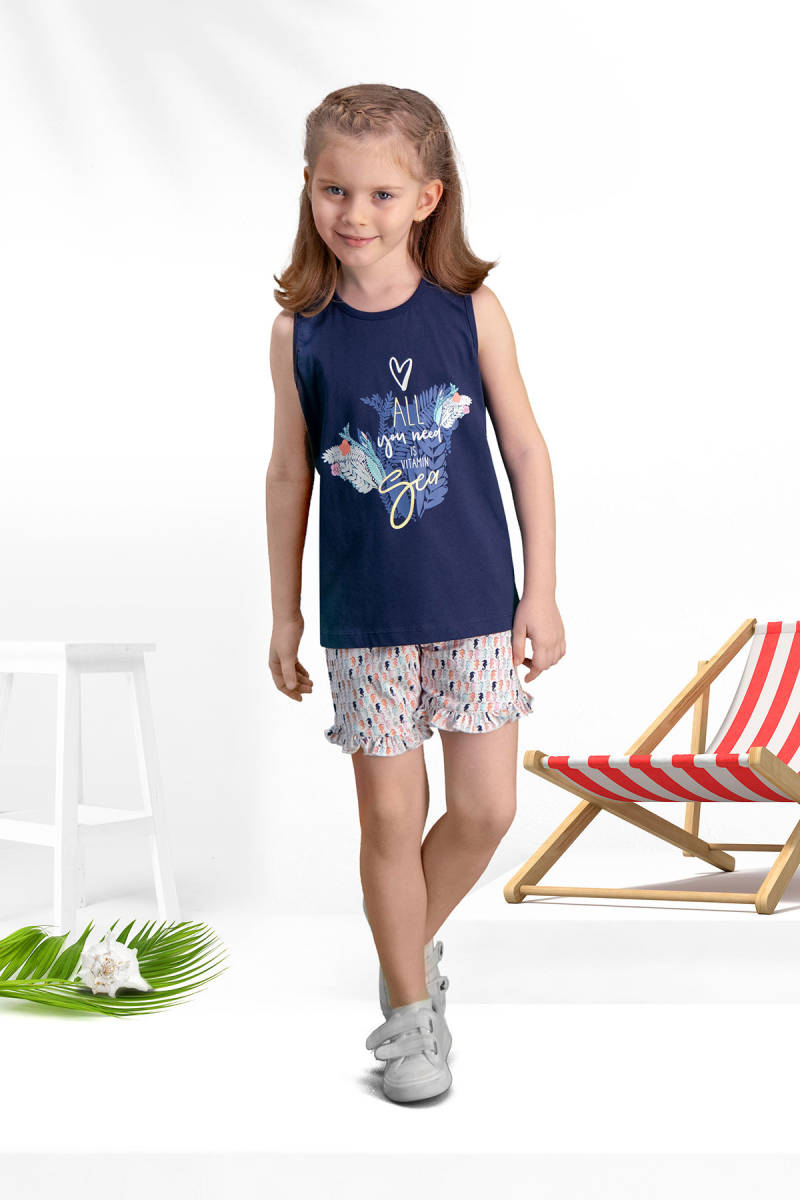 Arnetta - Arnetta Seahorse Lacivert Kız Çocuk Şort Takım
