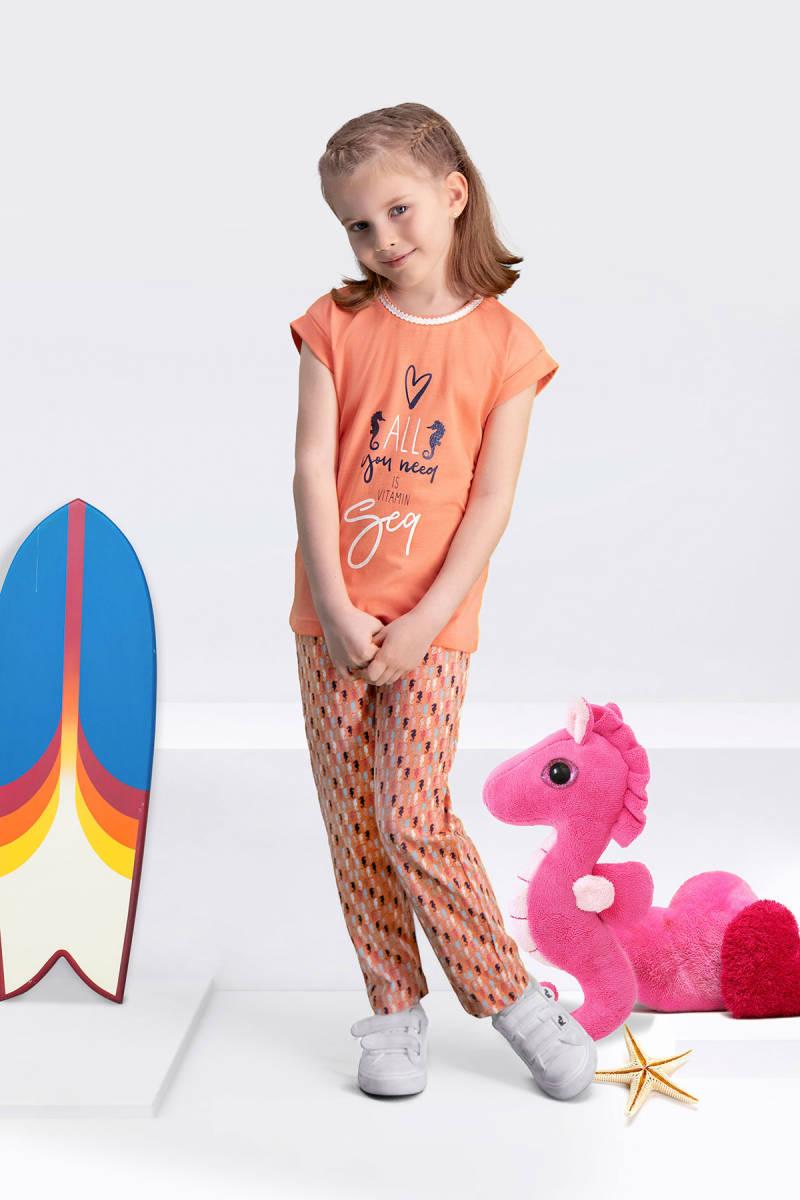 Arnetta - Arnetta Seahorse Yavruağzı Kız Çocuk Pijama Takımı