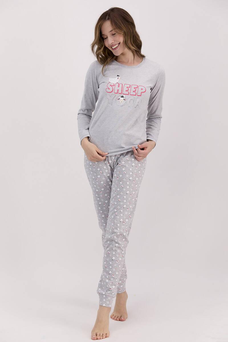 Arnetta - Arnetta Sheep Yoga Grimelanj Kadın Uzun Kol Pijama Takımı