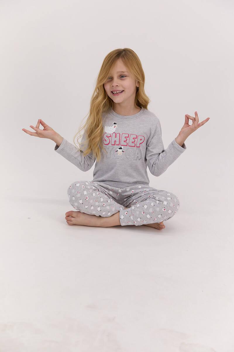 Arnetta - Arnetta Sheep Yoga Grimelanj Kız Çocuk Uzun Kol Pijama Takımı