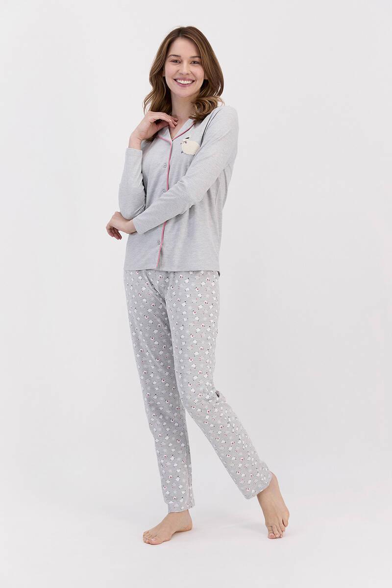 Arnetta - Arnetta Sheeps Grimelanj Kadın Gömlek Pijama Takımı