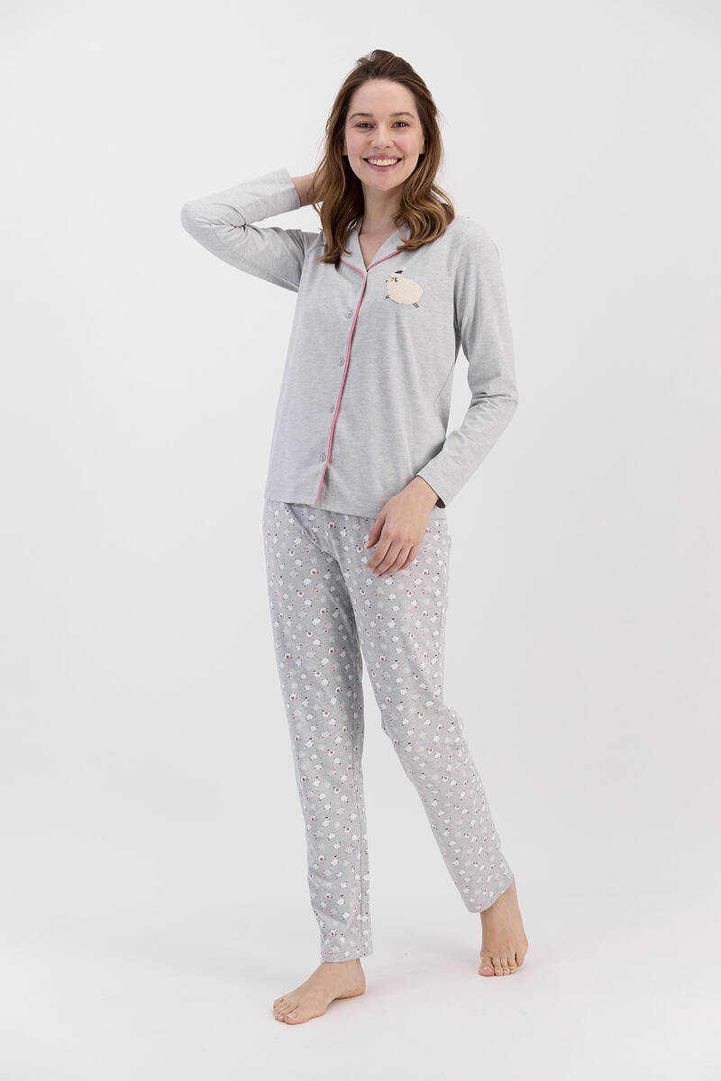 Arnetta - Arnetta Sheeps Grimelanj Kadın Gömlek Pijama Takımı (1)
