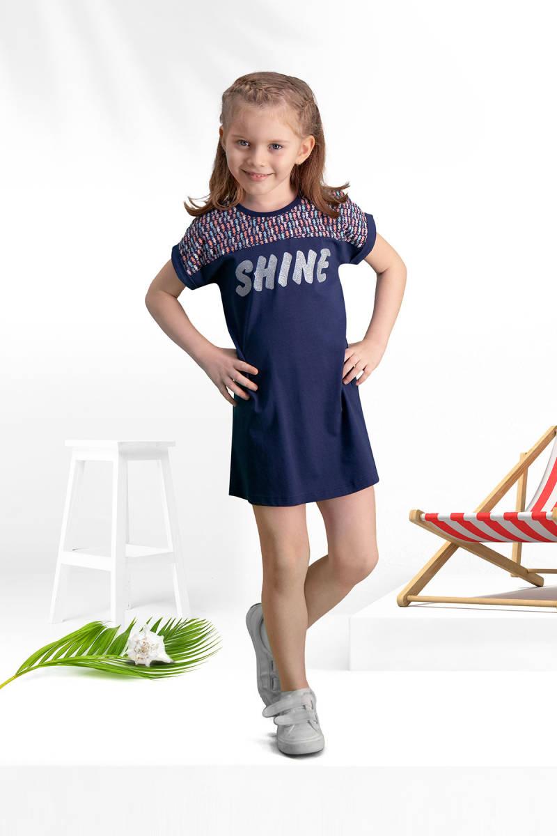 Arnetta - Arnetta Shine Lacivert Kız Çocuk Gündelik Elbise