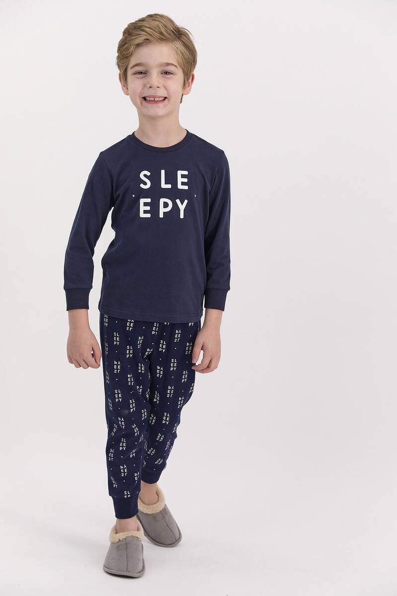 Arnetta - Arnetta Sleepy Lacivert Erkek Çocuk Uzun Kol Pijama Takımı (1)