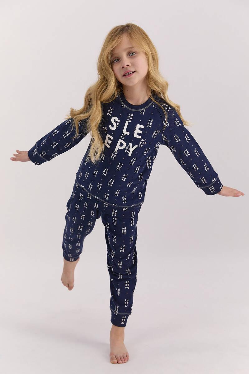 Arnetta - Arnetta Sleepy Lacivert Kız Çocuk Uzun Kol Pijama Takımı