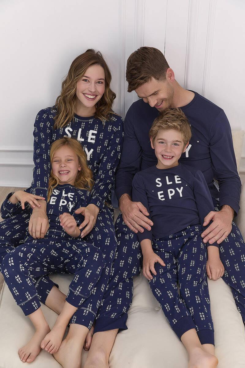 Arnetta - Arnetta Sleepy Lacivert Kız Çocuk Uzun Kol Pijama Takımı (1)