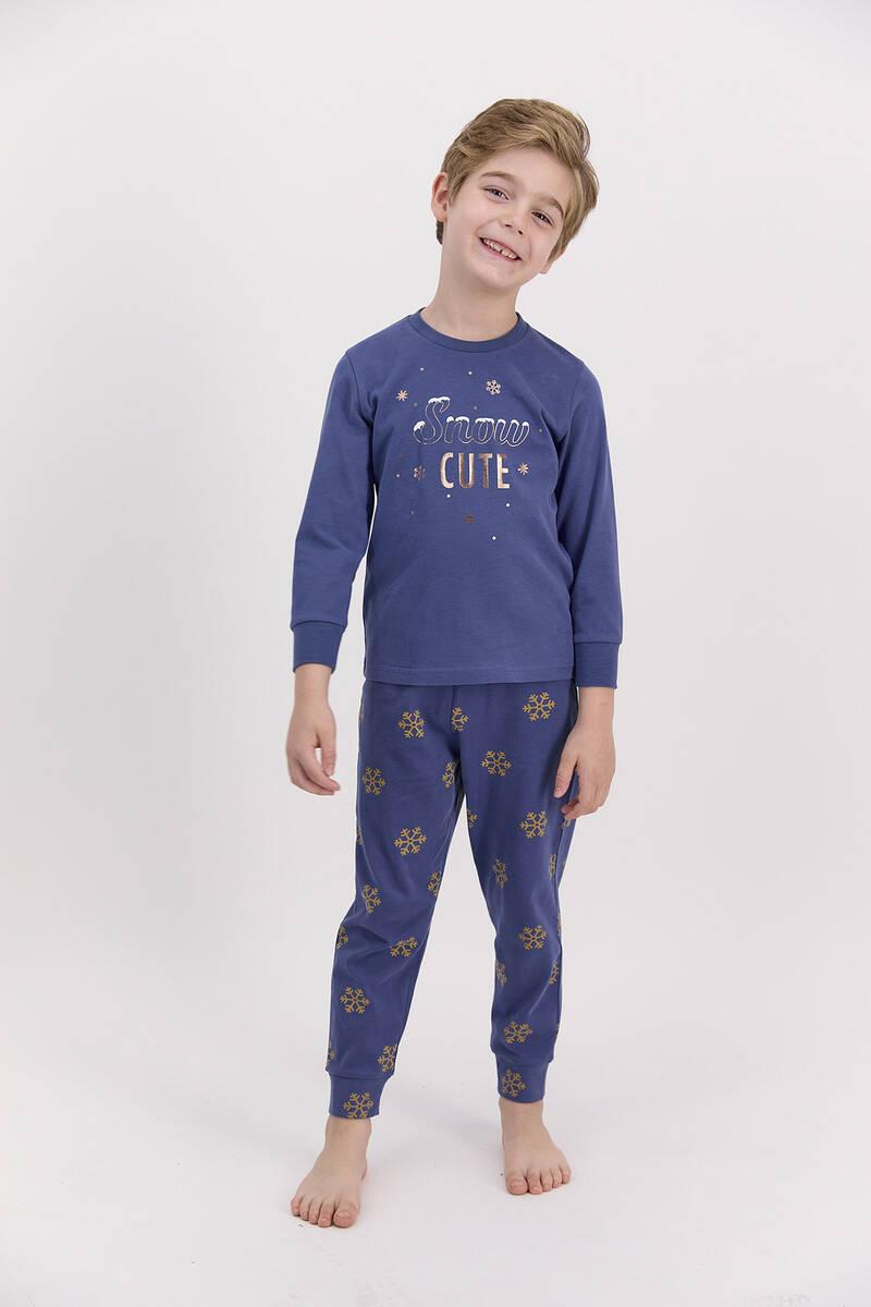 Arnetta - Arnetta Snow Funny İndigo Erkek Çocuk Uzun Kol Pijama Takımı