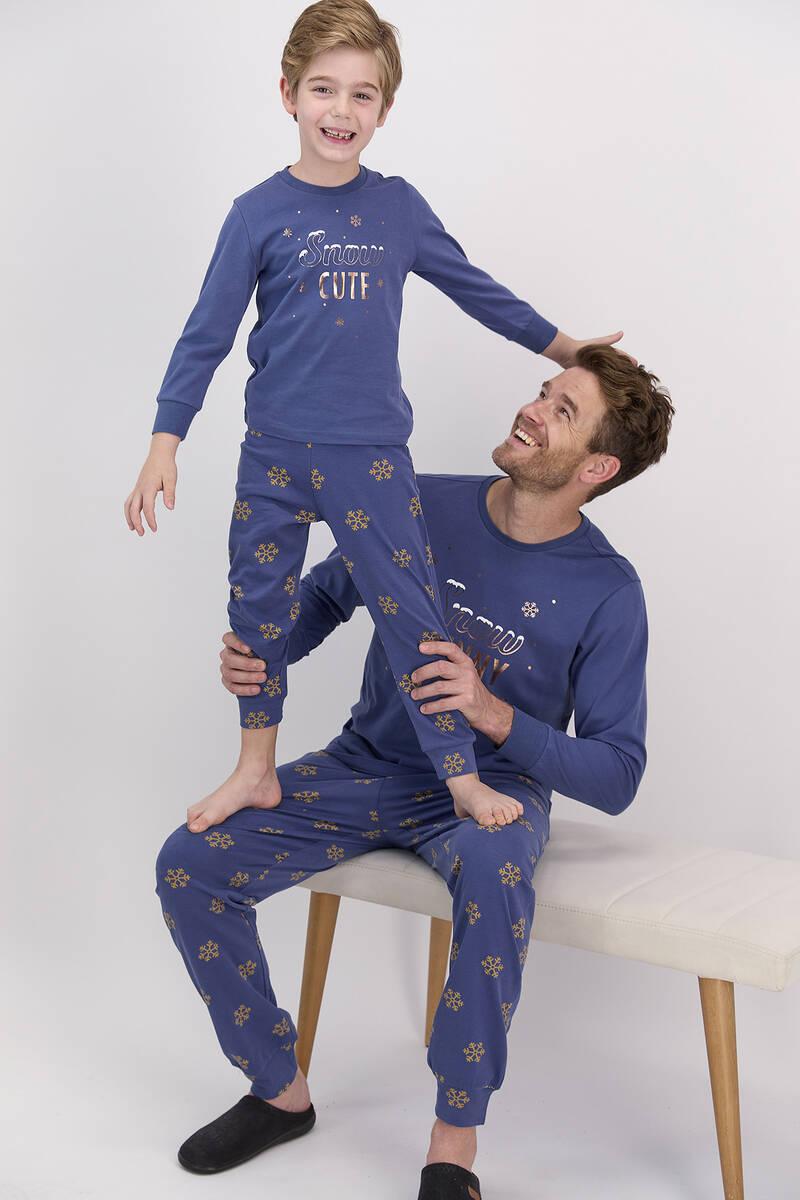 Arnetta - Arnetta Snow Funny İndigo Erkek Çocuk Uzun Kol Pijama Takımı (1)
