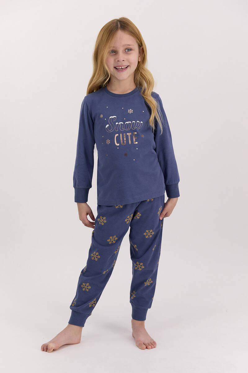 Arnetta - Arnetta Snow Funny İndigo Kız Çocuk Uzun Kol Pijama Takımı