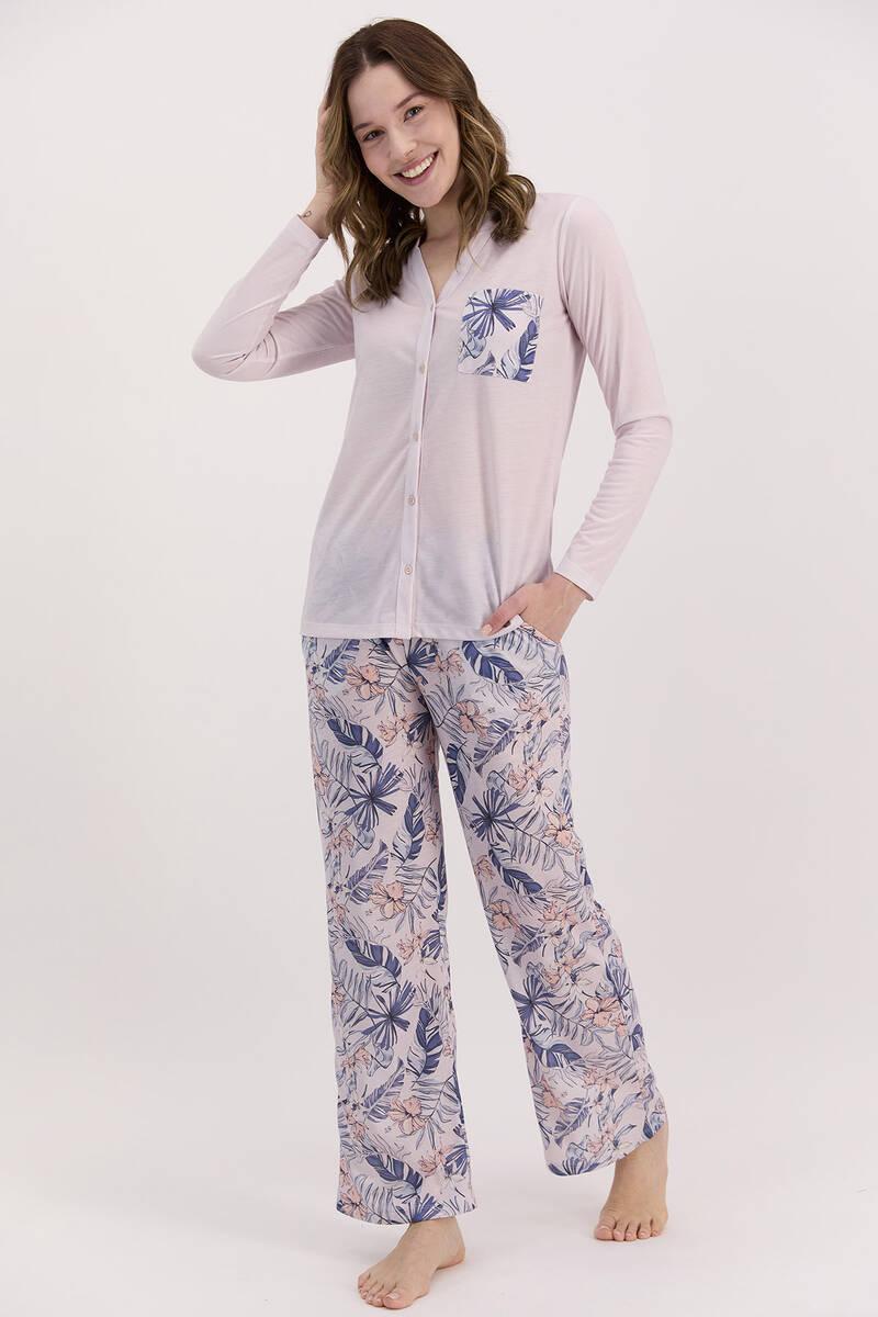 Arnetta - Arnetta Yaprak Desenli Gül Kurusu Kadın Düğmeli Uzun Kol Pijama Takımı