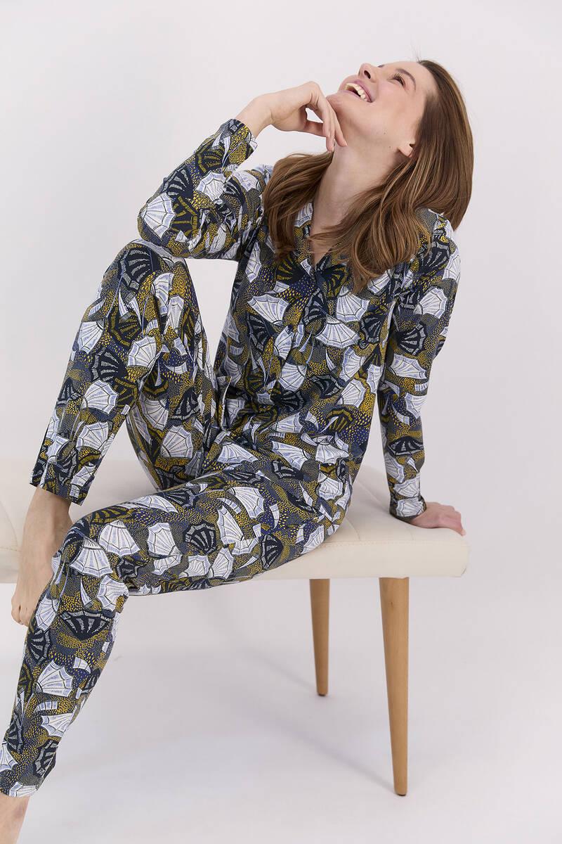 Arnetta - Arnetta Yelpaze Desenli Lacivert Kadın Gömlek Pijama Takımı (1)