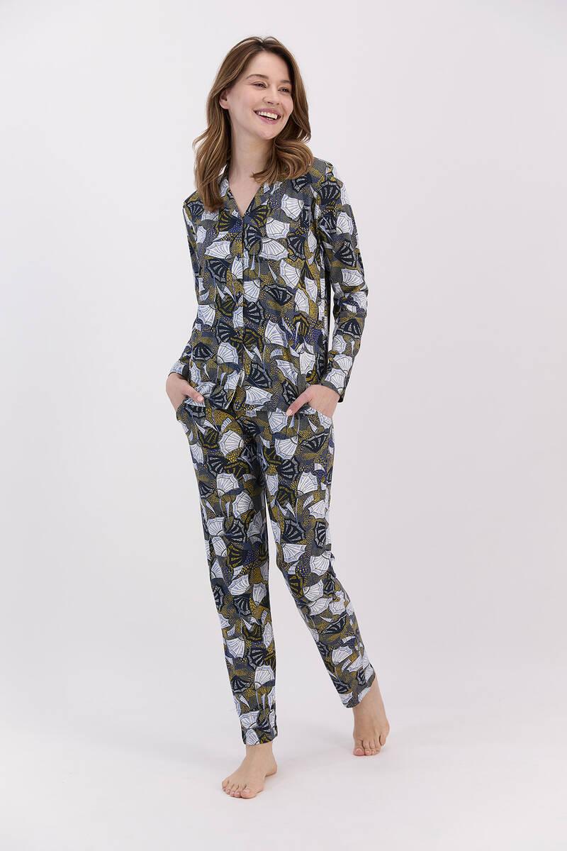 Arnetta - Arnetta Yelpaze Desenli Lacivert Kadın Gömlek Pijama Takımı