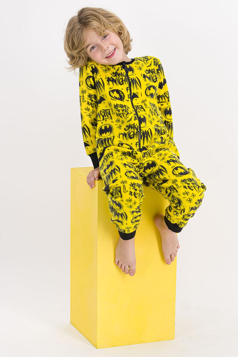 Batman - Batman Lisanslı Sarı Erkek Çocuk Polar Tulum