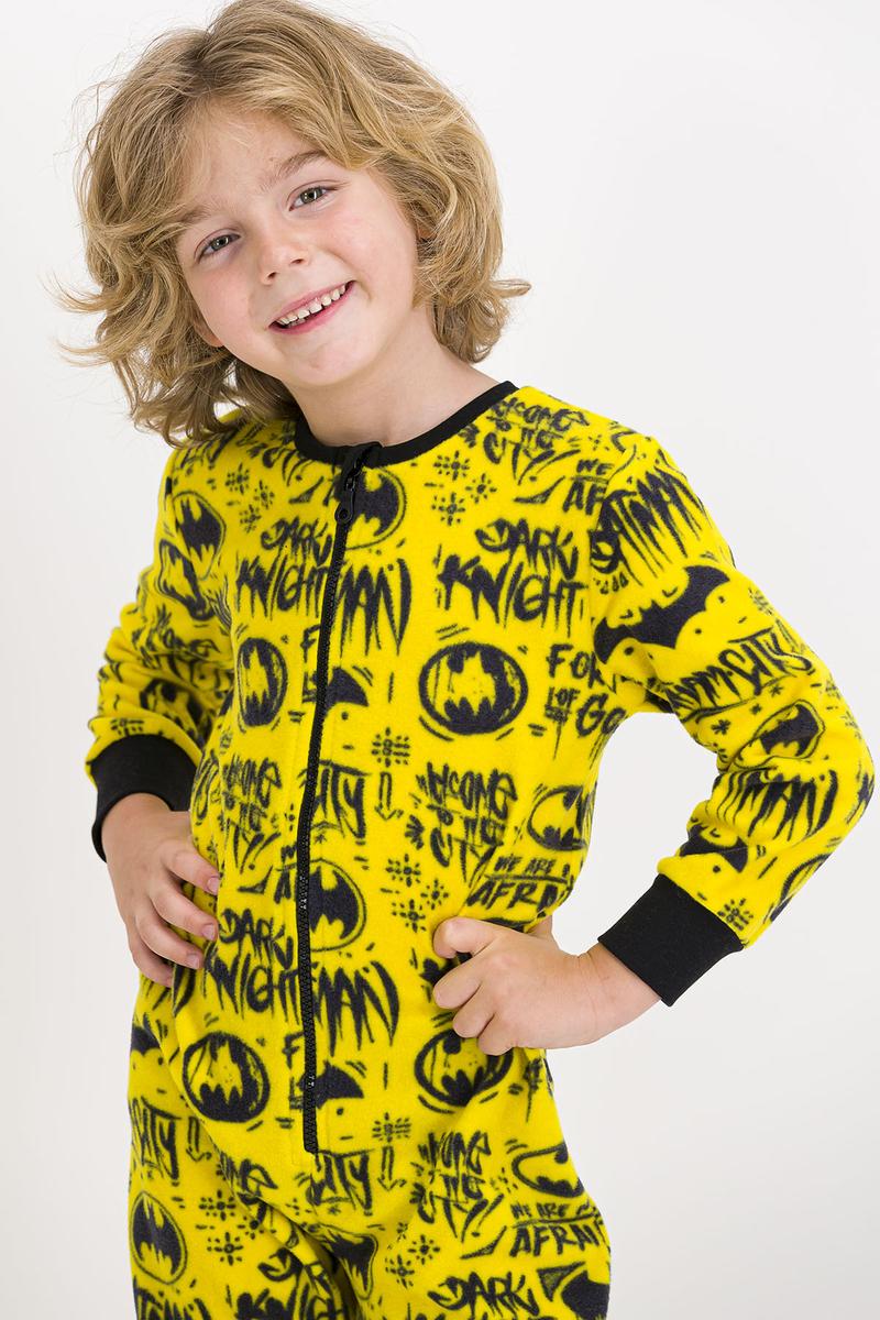 Batman - Batman Lisanslı Sarı Erkek Çocuk Polar Tulum (1)