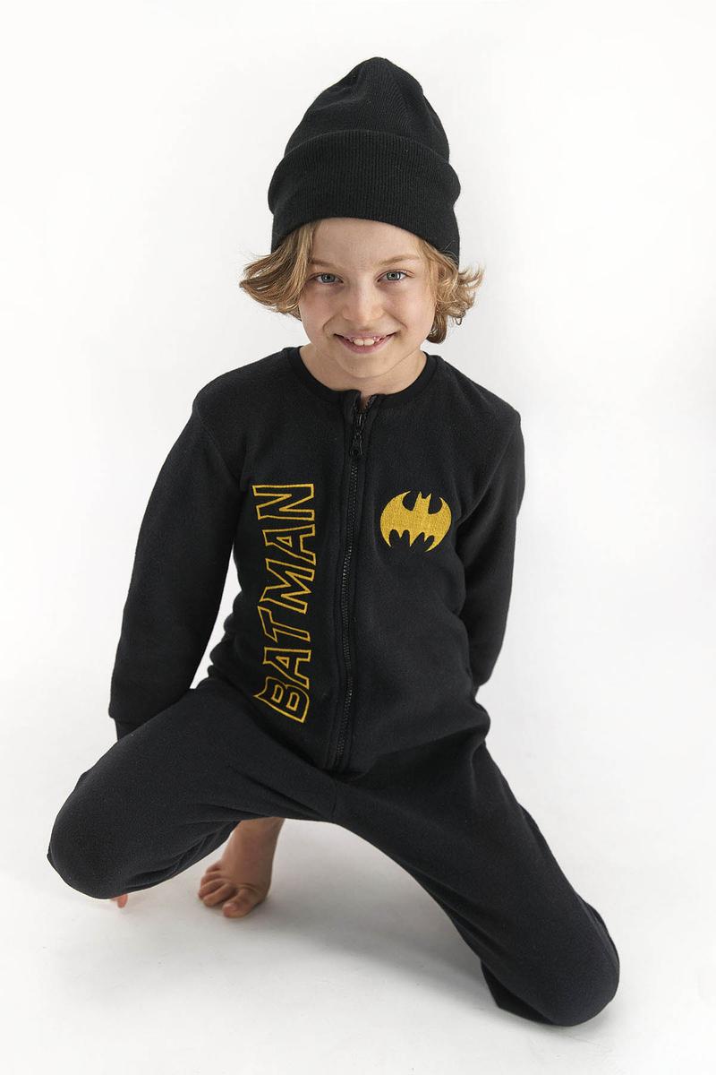 Batman - Batman Erkek Çocuk Polar Tulum Sıyah