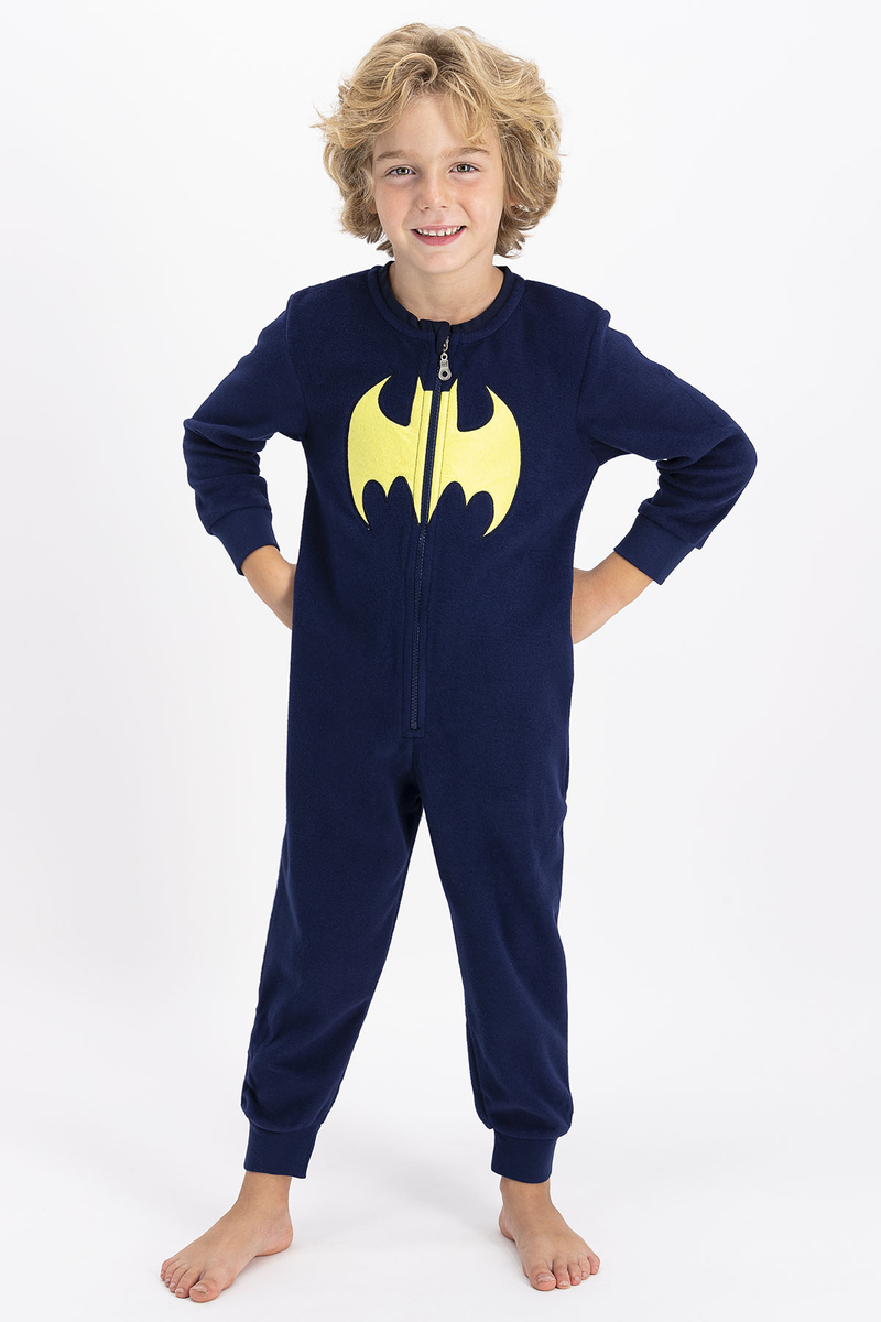 Batman - Batman Lisanslı Erkek Çocuk Lacivert Çocuk Polar Tulum