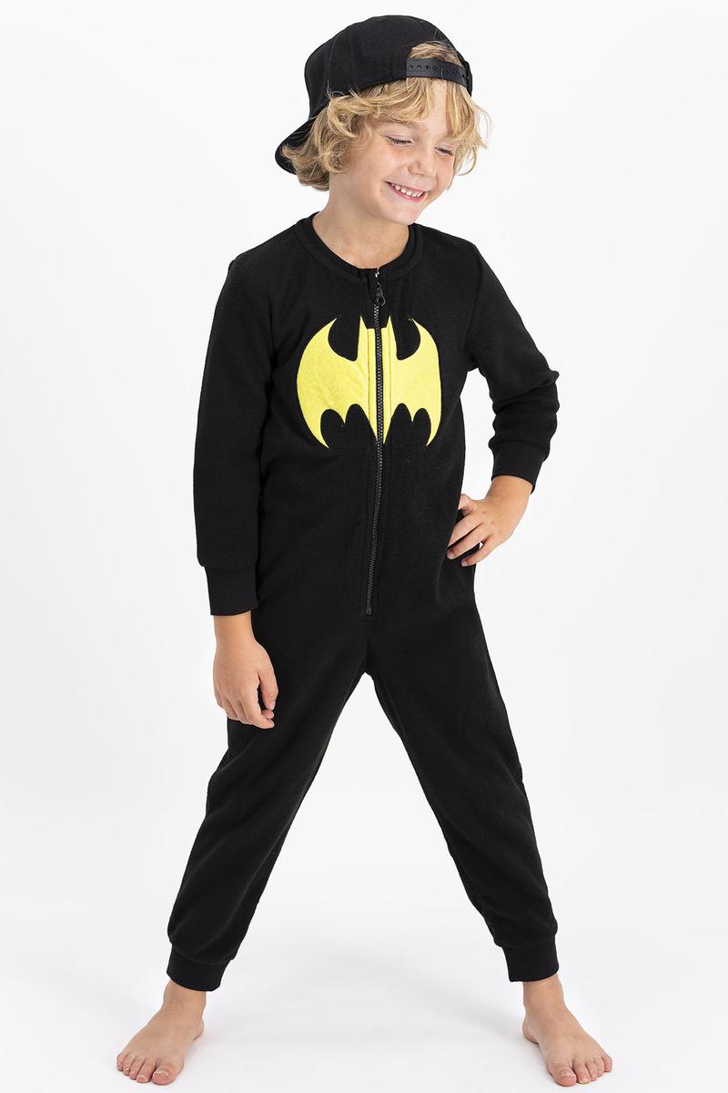 Batman - Batman Lisanslı Erkek Çocuk Siyah Çocuk Polar Tulum