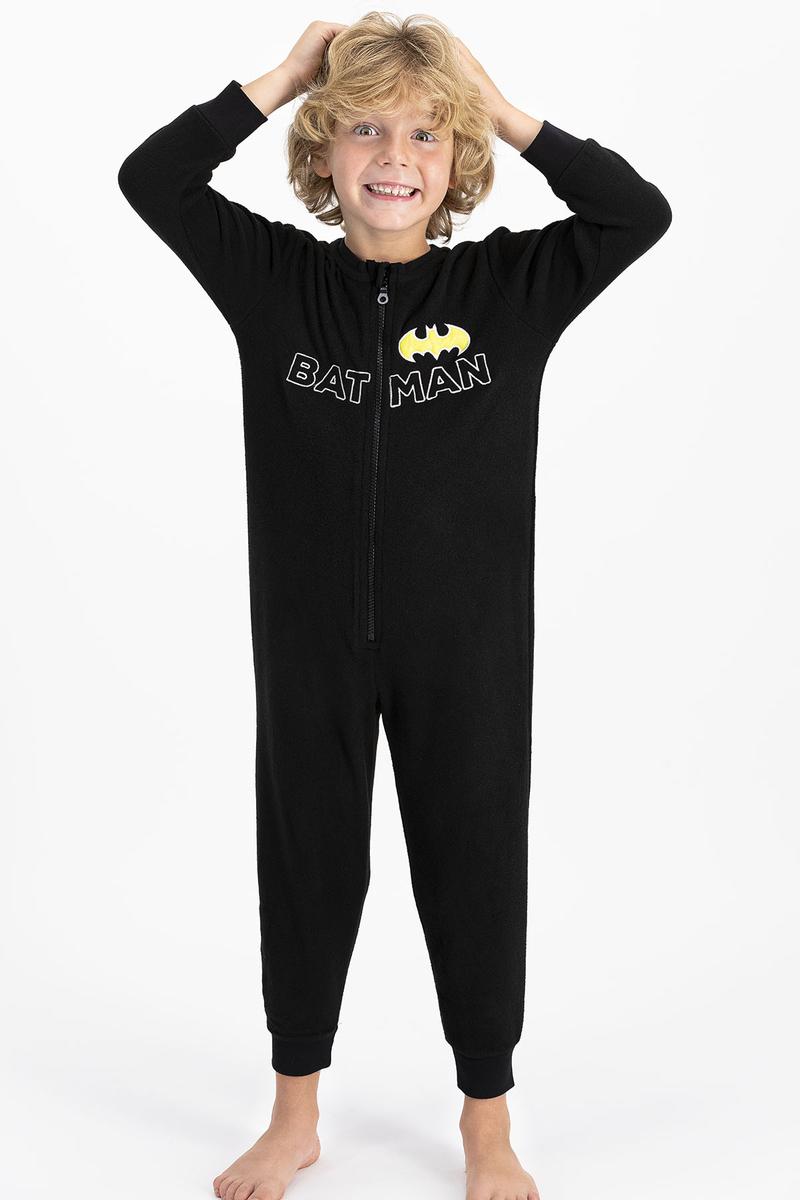 Batman - Batman Lisanslı Erkek Siyah Çocuk Polar Tulum
