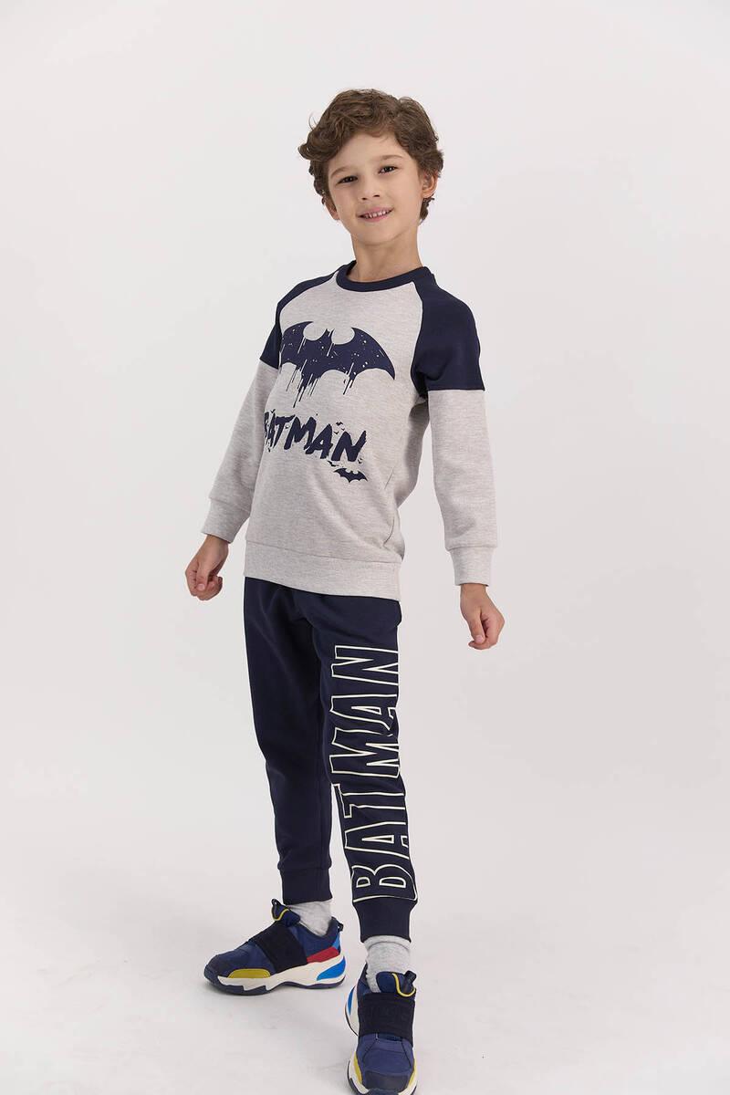 Batman - Batman Lisanslı Koyu Bejmelanj Erkek Çocuk Ribanalı Eşofman Takımı