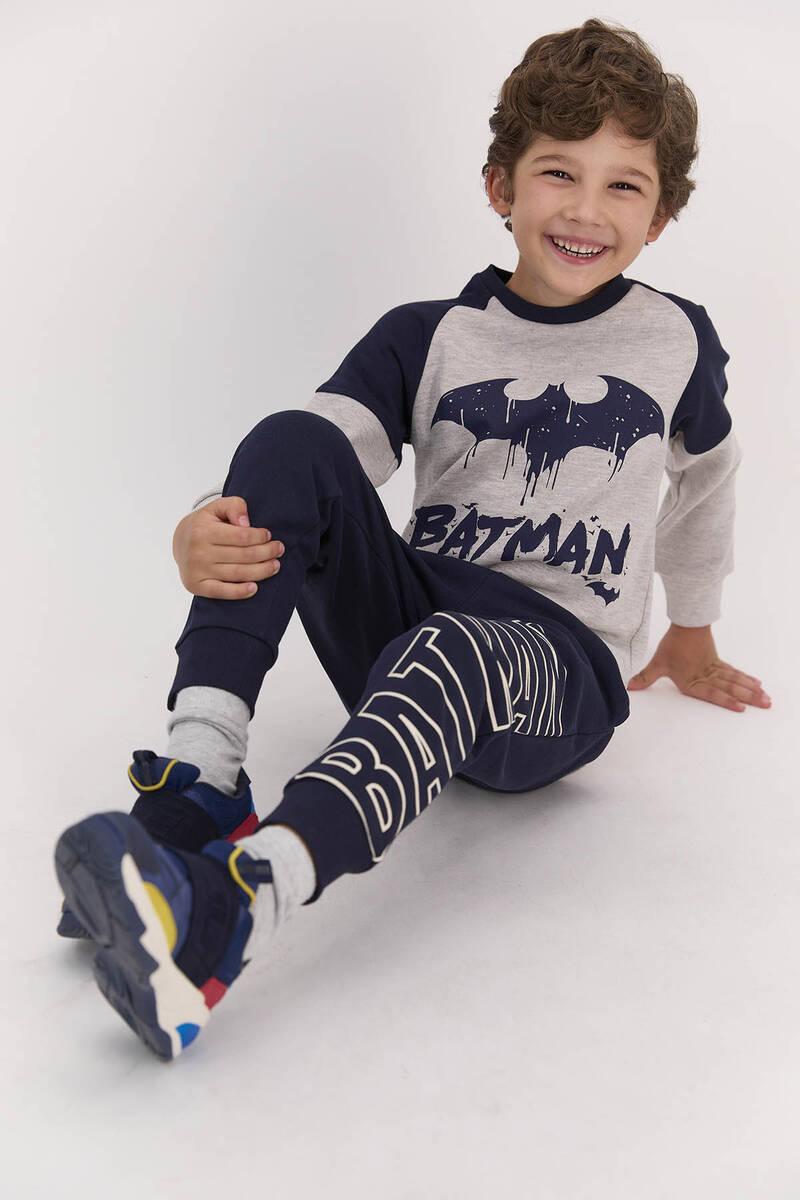 Batman - Batman Lisanslı Koyu Bejmelanj Erkek Çocuk Ribanalı Eşofman Takımı (1)