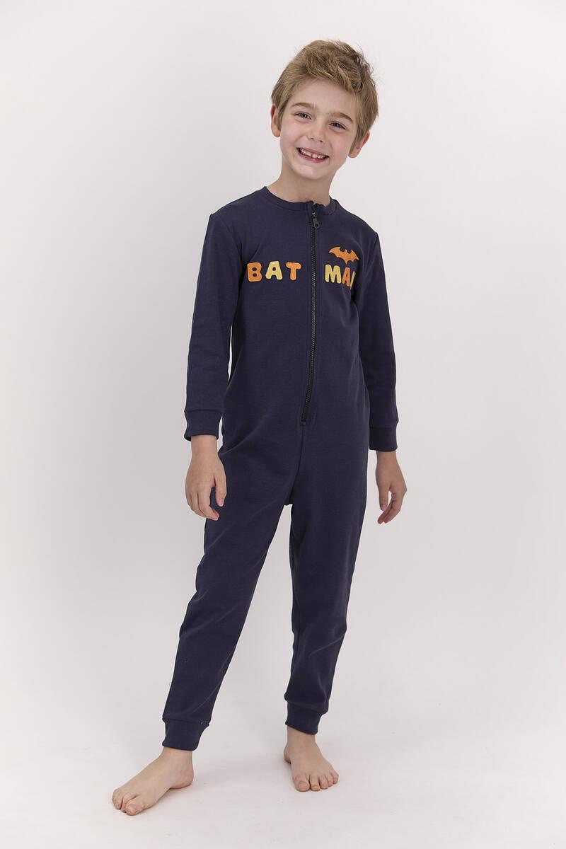 Batman - Batman Lisanslı Lacivert Erkek Çocuk Fermuarlı Tulum