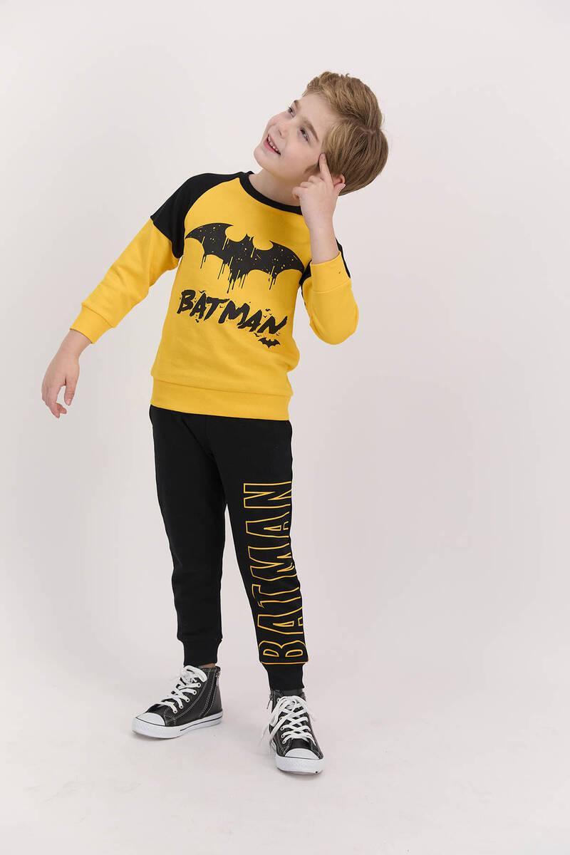 Batman - Batman Lisanslı Sarı Erkek Çocuk Ribanalı Eşofman Takımı