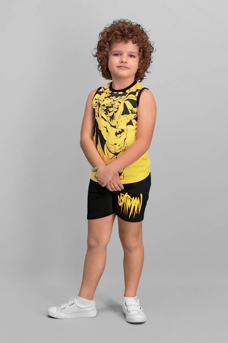 Batman - Batman Lisanslı Sarı Erkek Çocuk Şort Takım