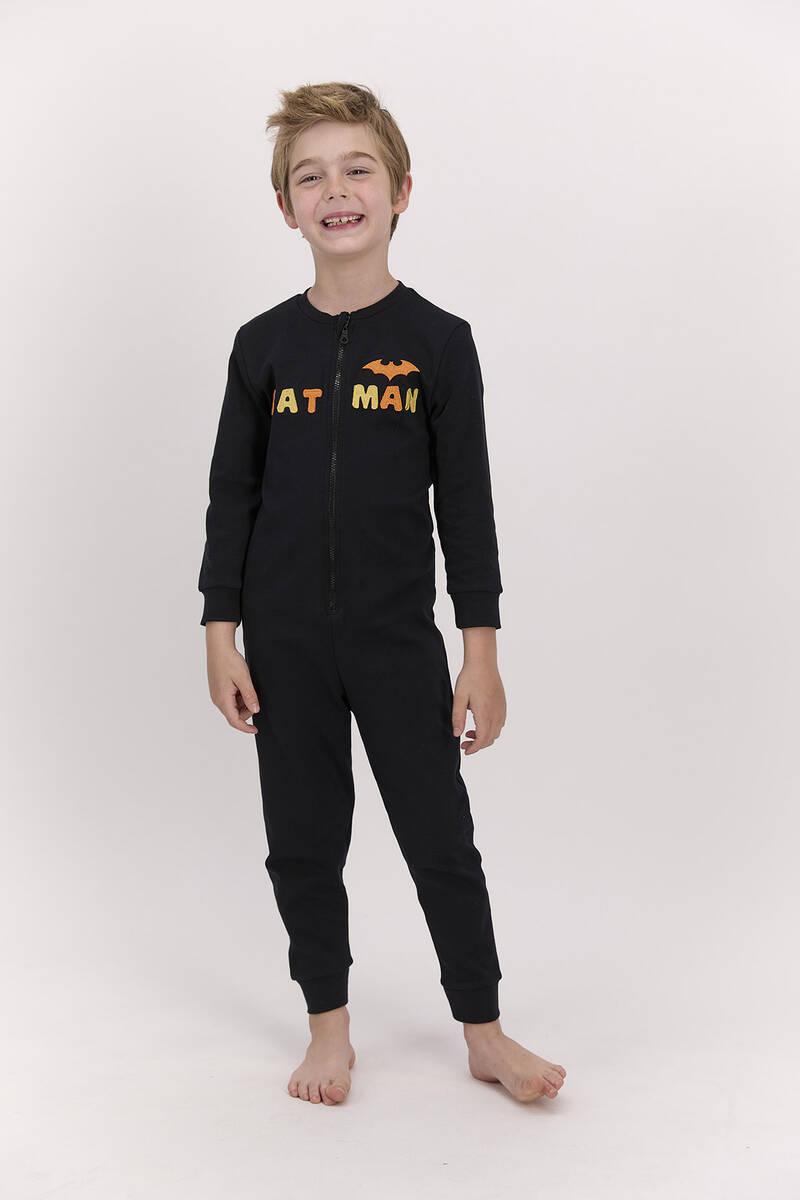 Batman - Batman Lisanslı Siyah Erkek Çocuk Fermuarlı Tulum