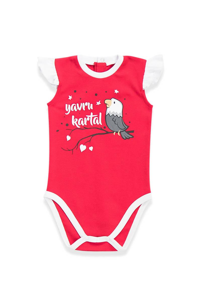 Beşiktaş - Beşiktaş Lisanslı Kız Bebek Body Kırmızı