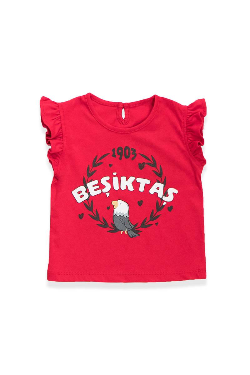 Beşiktaş - Beşiktaş Lisanslı Kız Bebek T-Shirt Kırmızı