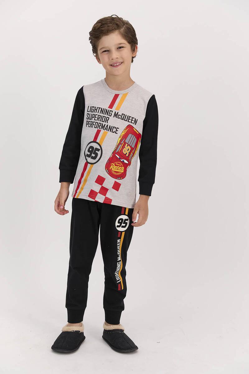 Cars - Cars Lisanslı Performance Koyu Bejmelanj Erkek Çocuk Pijama Takımı