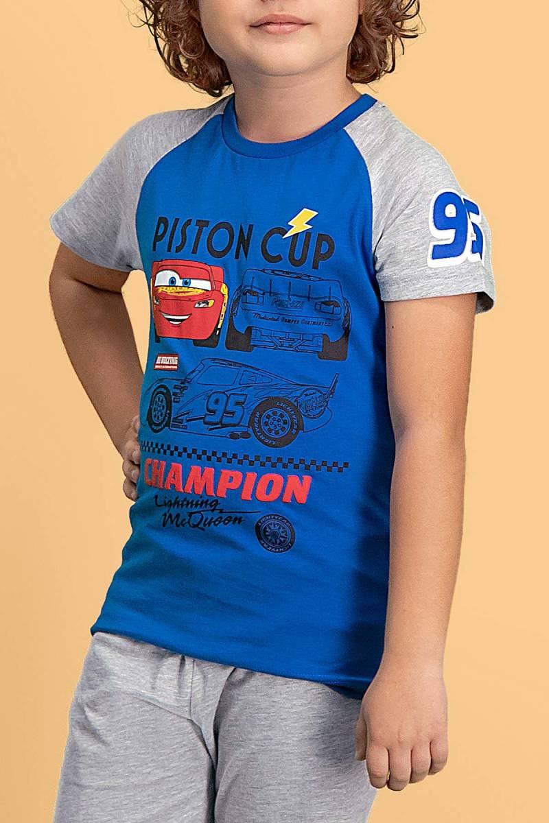 Cars - Cars Lisanslı Saks Mavi Erkek Çocuk Bermuda Takım (1)