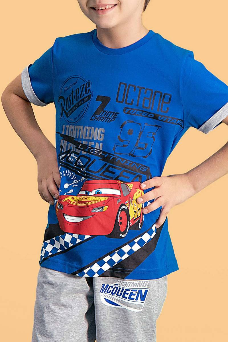 Cars - Cars Lisanslı Saks Mavi Erkek Çocuk Kapri Takım (1)