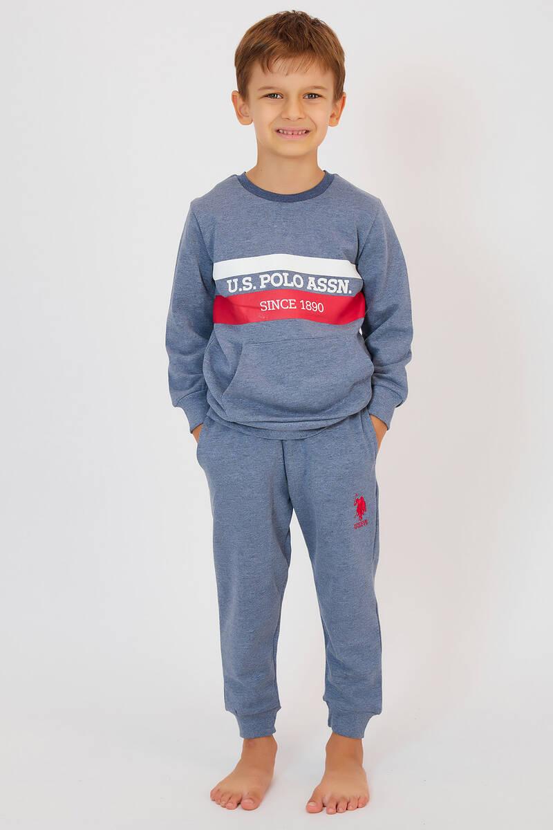 U.S. Polo Assn - U.S. Polo Assn Lacivertmelanj Erkek Çocuk Eşofman Takımı (1)