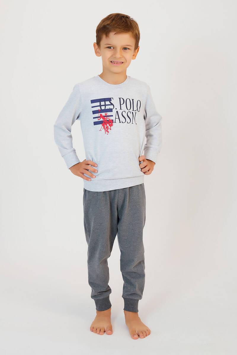 U.S. Polo Assn - U.S. Polo Assn Karmelanj Erkek Çocuk Ribanalı Pijama Takımı